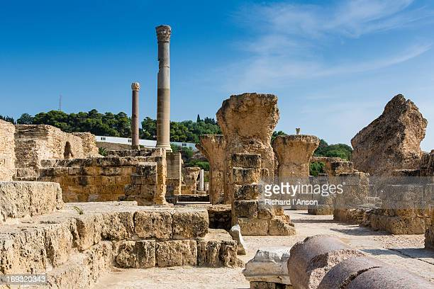 ruins of antonine baths complex in carthage - tunisia stock pictures, royalty-free photos & images