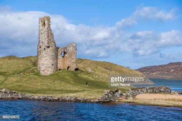 Ruins of Ardvreck Castle at Loch Assynt, West Highlands, Scotland, United Kingdom