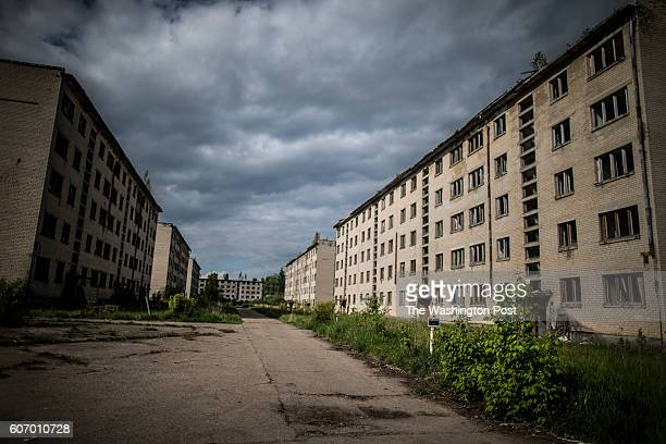 Ruins of army barracks on a territory of exSoviet secret army compound 'Skrunda1' which now is a ghost town and Cold War era museum May 22 2016...
