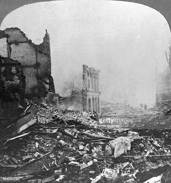 Ruins of Bethune France World War I c1915c1918 Smouldering Bethune ignited by German guns for the defeat at Festubert The Battle of Festubert was...