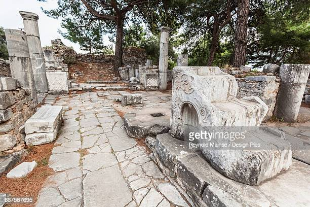 ruins of bishops church - priene stock photos and pictures