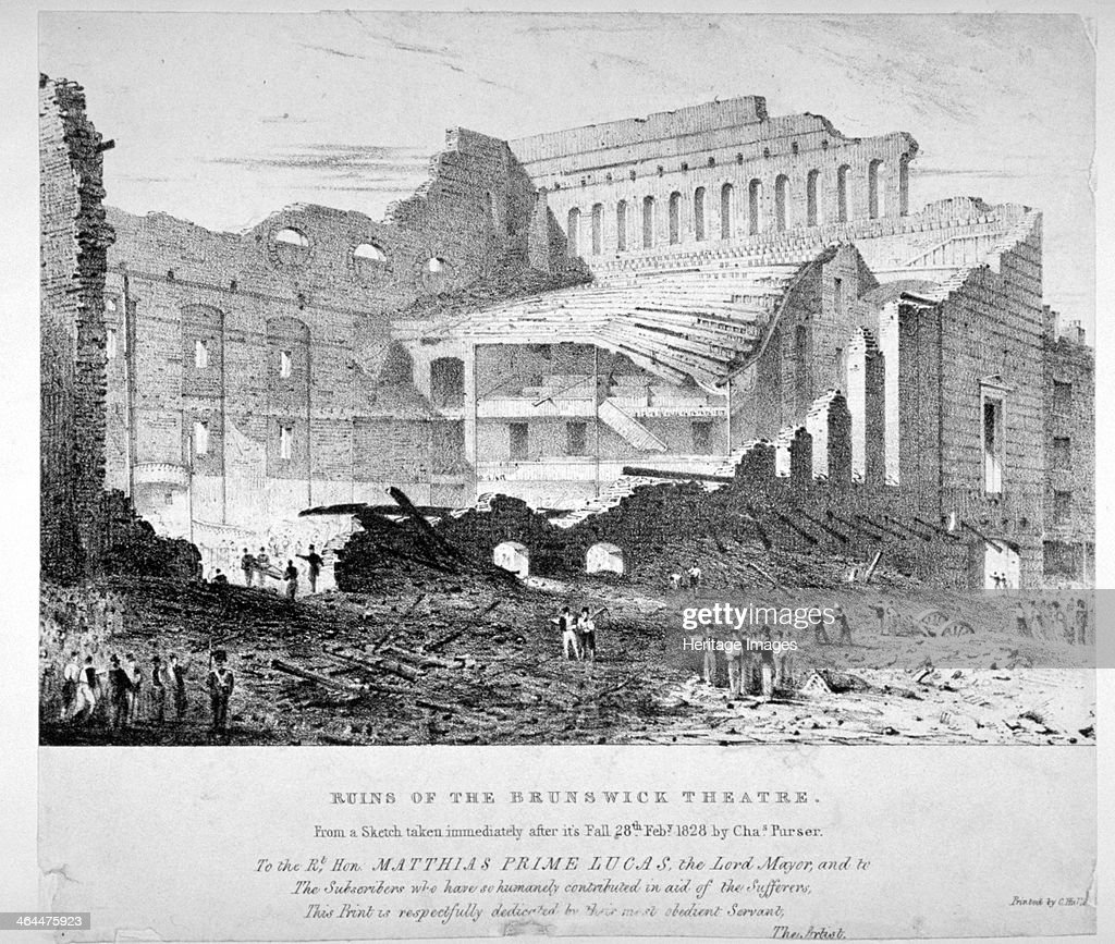 Ruins of Brunswick Theatre, Goodman's Fields, Stepney, London, 1828. Artist: Anon : News Photo