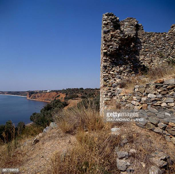 Ruins of Byzantine fortifications ancient city of Maroneia Thrace Greece Byzantine civilisation
