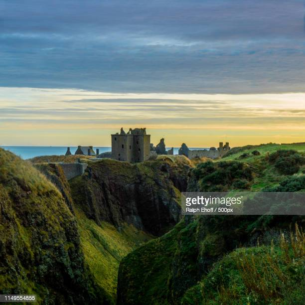 ruins of castle at sunset - old ruin stock pictures, royalty-free photos & images