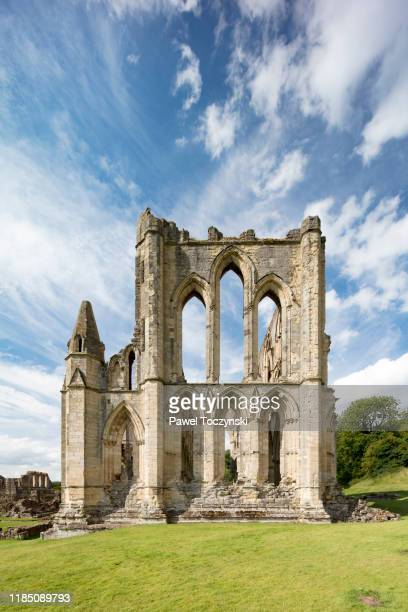 ruins of cistercian abbey in rievaulx destroyed during the dissoluteness of monasteries under henry viii, yorkshire, england, 2018 - british royalty photos stock pictures, royalty-free photos & images