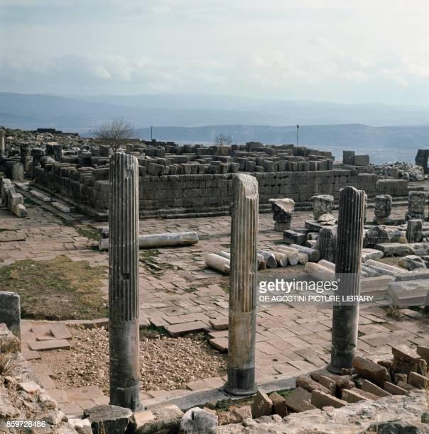 Ruins of columns, Acropolis of Pergamon, ancient Greek city in Aeolis , Turkey.
