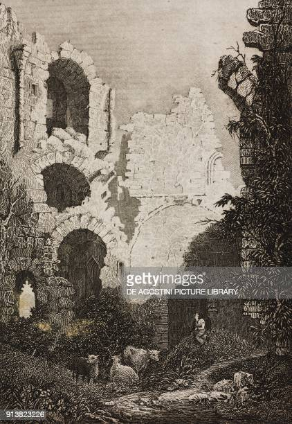 Ruins of Crookston Castle Scotland United Kingdom engraving by Skelton from Angleterre Ecosse et Irlande Volume IV by Leon Galibert and Clement Pelle...