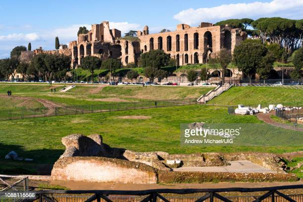 ruins of domus augustana on palatine hill seen from circus maximus, rome, lazio, italy. - derby roma lazio foto e immagini stock