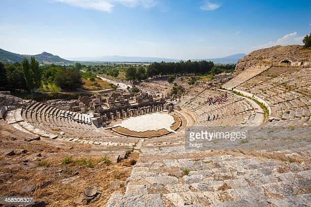 ruins of ephesus near selcuk in turkey - amphitheatre stock pictures, royalty-free photos & images