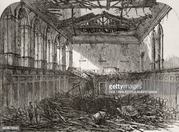 Ruins of Haberdashers' Hall after the great fire London England United Kingdom illustration from the magazine The Illustrated London News volume XLIV...