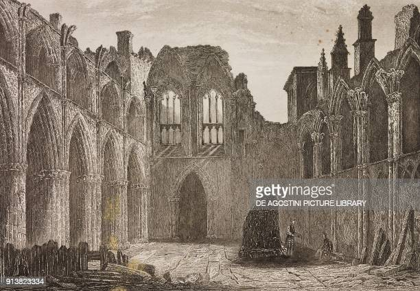 Ruins of Holyrood Abbey Edinburgh Scotland United Kingdom engraving by Schroeder from Angleterre Ecosse et Irlande Volume IV by Leon Galibert and...