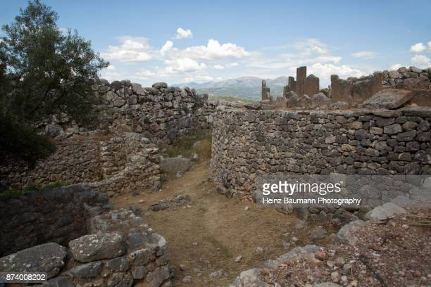Ruins of houses in Mycenae, Peloponnese, Greece, Mycenaean civilization