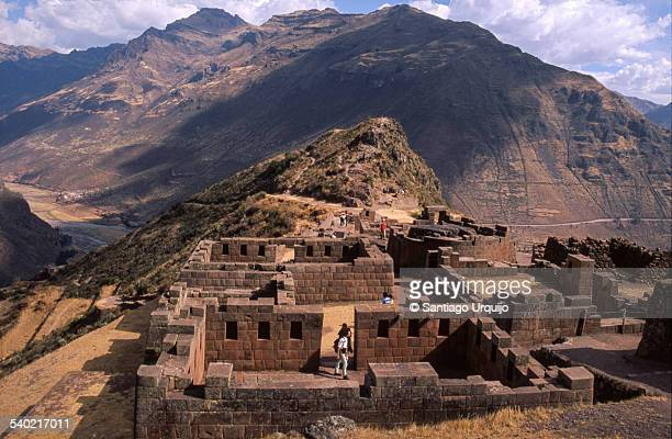 Ruins of Inca Písac on hill at Sacred Valley