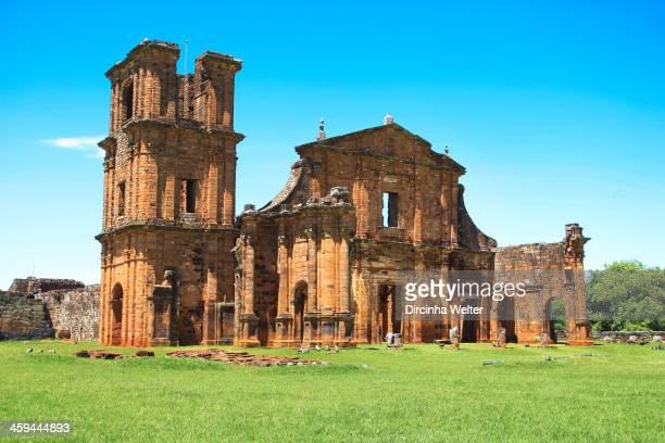 Ruins of Jesuit reduction of Sao Miguel. Sítio Arqueológico de São Miguel Arcanjo. São Miguel das Missões, Rio Grande do Sul, Brazil.