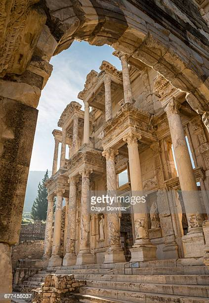 Ruins Of Library Of Celsus Against Clear Sky