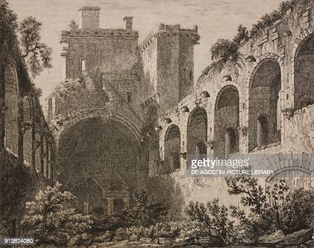 Ruins of Linlithgow Palace Scotland United Kingdom engraving by Lemaitre from Angleterre Ecosse et Irlande Volume IV by Leon Galibert and Clement...