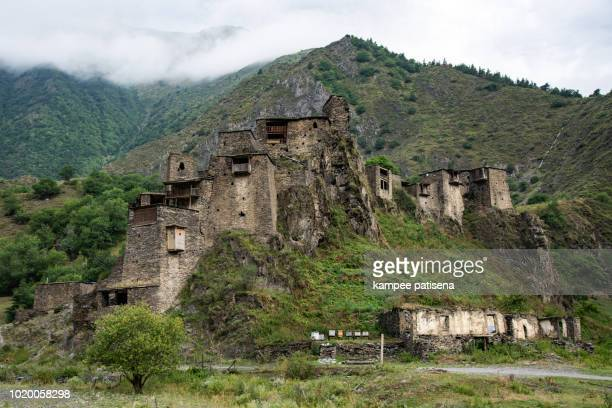 ruins of medieval village-castle shatili. - georgian culture stock pictures, royalty-free photos & images