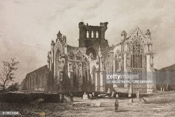Ruins of Melrose Abbey Edinburgh Scotland United Kingdom engraving by Schroeder from Angleterre Ecosse et Irlande Volume IV by Leon Galibert and...