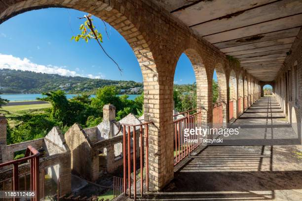 ruins of old barracks on vigie peninsula in saint lucia, 2019 - barracks stock pictures, royalty-free photos & images