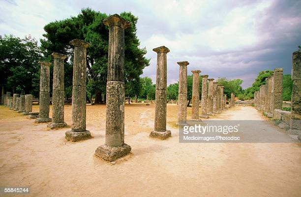 Ruins of old pillars, Olympia, Greece