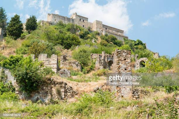 ruins of old town in mystras, greece - sparta greece stock photos and pictures