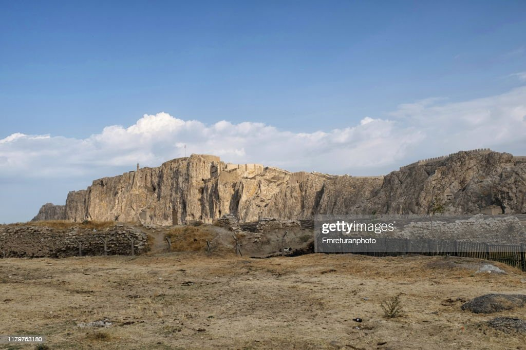 Ruins of old Van city and Castle on the hill,Van-Turkey. : Stock Photo