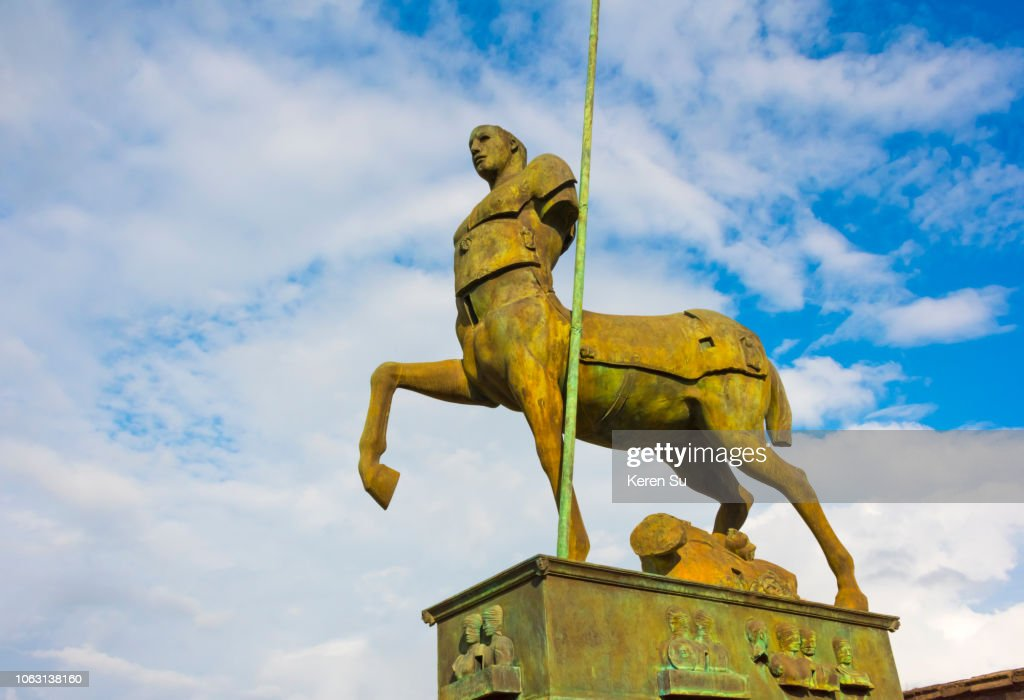 Ruins of Pompeii, Centaur statue in the Forum, UNESCO World Heritage Site, Province of Naples, Campania Region, Italy : Stock Photo