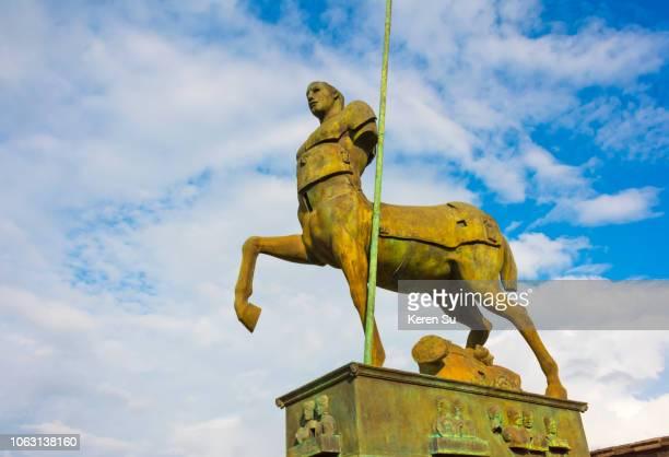 ruins of pompeii, centaur statue in the forum, unesco world heritage site, province of naples, campania region, italy - centaur stock photos and pictures