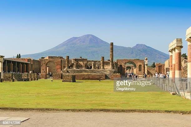 Ruins of Pompeii with Mount Vesuvius in Background, Campania, Italy