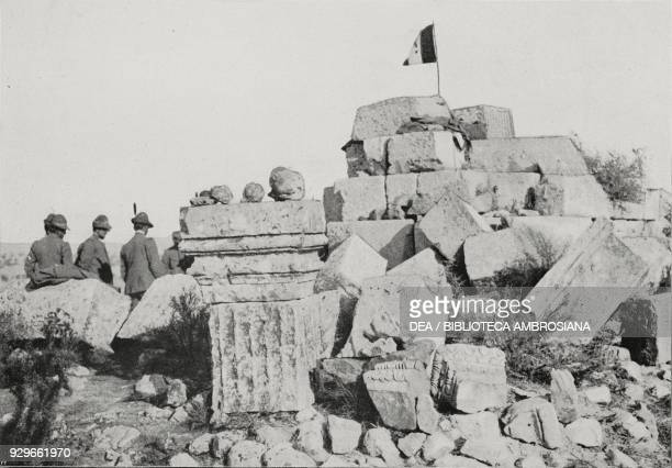 Ruins of Roman tombs at Gebel Garian discovered by the Feltre Battalion Alpini Libya photograph by Galassi from L'Illustrazione Italiana Year XL No...