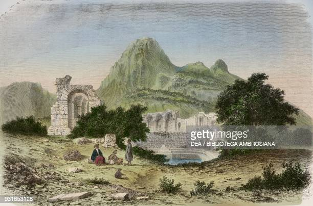 Ruins of Roman Water Temple Zaghouan Tunisia drawing by Alexandre de Bar from Voyage a Tunis by Amabile Crapelet from Il Giro del mondo Journal of...