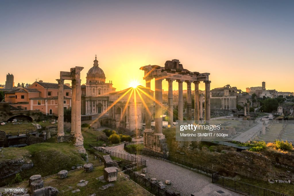 Ruins Of Romans Forum At Sunrise Ancient Government