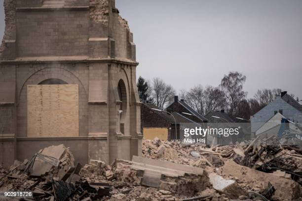 Ruins of Saint Lambertus church are seen during demolition following protests by activists on January 9 2018 in Immerath Germany The village of...