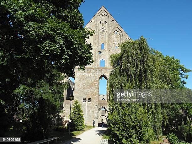 ruins of st. bridget convent facade, tallinn, estonia, north europe - harjumaa stock pictures, royalty-free photos & images