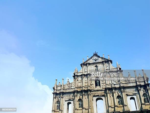 ruins of st paul against sky on sunny day - macao fotografías e imágenes de stock