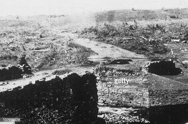 Ruins of Stone bridge Bull Run in Virginia during the US civil war circa March 1862
