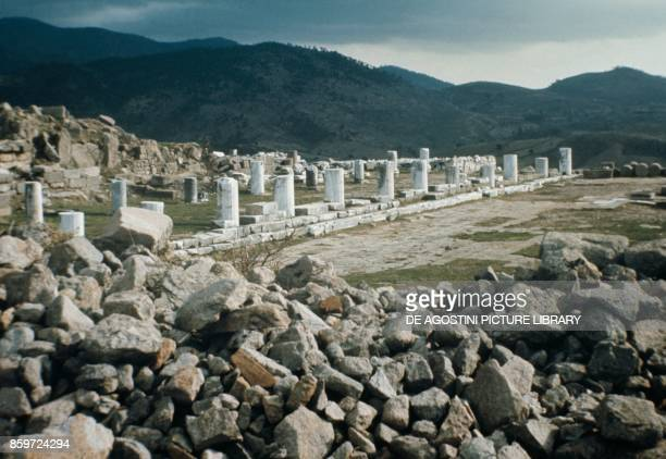 Ruins of the Acropolis of Pergamon ancient Greek city in Aeolis Turkey