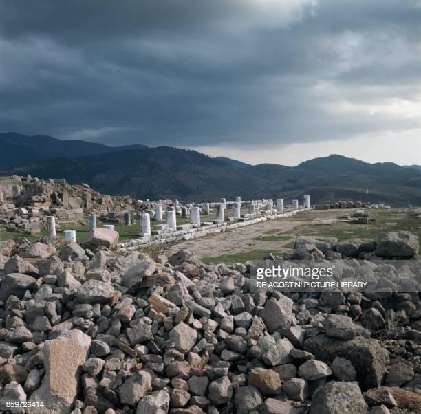 Ruins of the Acropolis of Pergamon, ancient Greek city in Aeolis , Turkey.