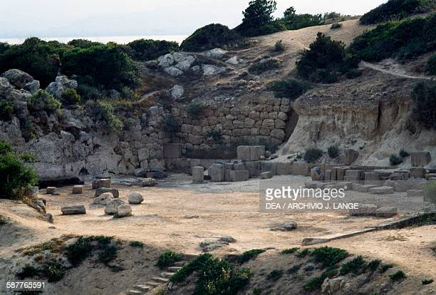 Ruins of the agora or West court Heraion Sanctuary of Hera Perachora Peloponnese Greece Greek civilisation 6th century BC