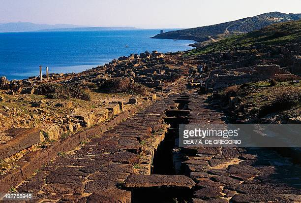 Ruins of the ancient city of Tharros founded by Phoenicians near the village of San Giovanni di Sinis Cabras Sardinia Italy