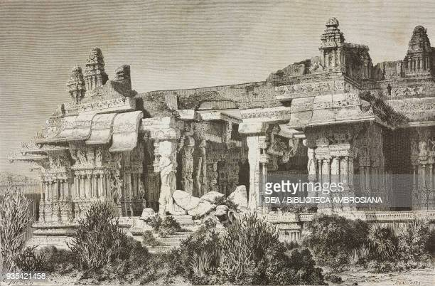 Ruins of the ancient city of Vijayanagar Hampi engraving from India travel in Central India and Bengal by Louis Rousselet