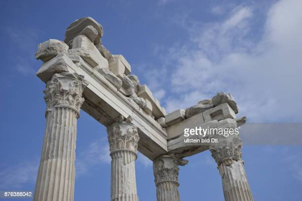 Ruins of the ancient Greek and Roman era city of Pergamon with temples statues and Acropolis located near Bergama in Turkey