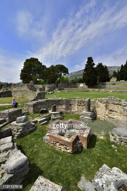 Ruins of the baptistery and the baptismal font episcopal complex of Salona Solin Croatia PaleoChristian civilization 5th6th century AD