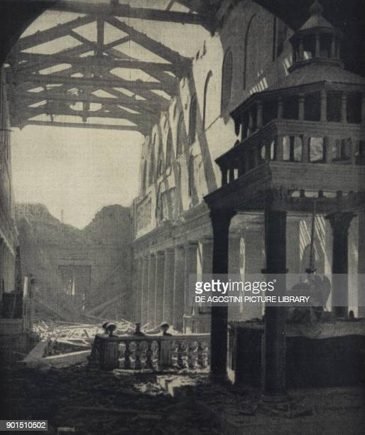 Ruins of the Basilica di San Lorenzo fuori le Mura after allied bombing Rome Italy World War II from L'Illustrazione Italiana Year LXX No 30 July 25...