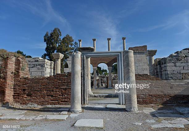 Ruins of the Basilica of St. John in Ephesus constructed by Justinian I in the 6th century. It stands over the believed burial site of John the...