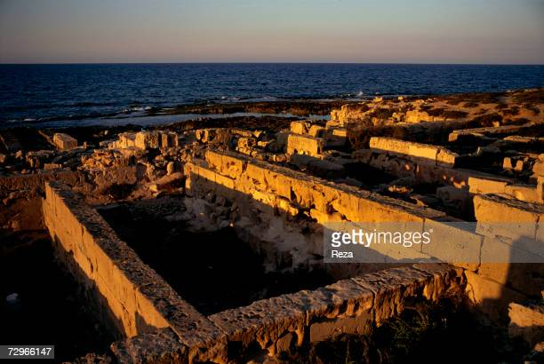 Ruins of the Baths of Oceanus which was a small bathing complex with chambers in Roman Sabratha which flourished in the time of the ancient region of...