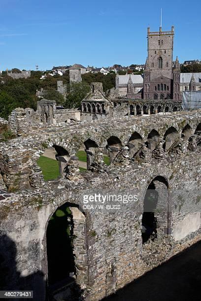 Ruins of the Bishop's Palace built by Bishop Henry de Gower adjacent to St Davids cathedral St Davids Wales United Kingdom