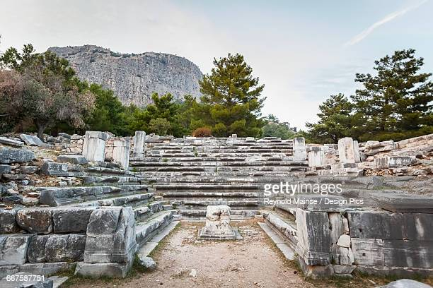 ruins of the bouleuterion - priene stock photos and pictures