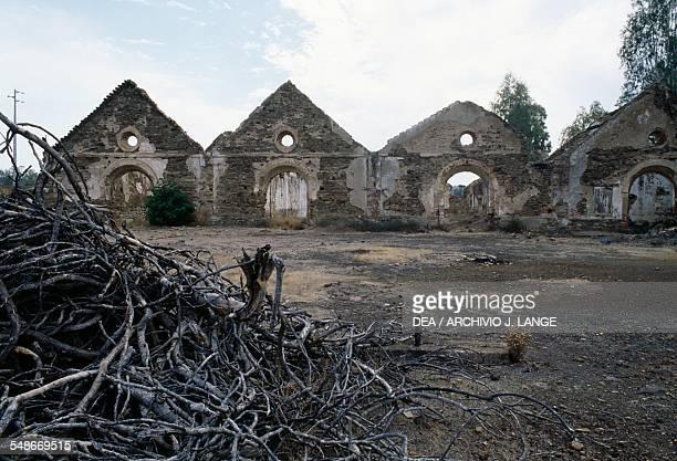 Ruins of the buildings in the copper mine of Sao Domingos active in the 19th century Alentejo Portugal