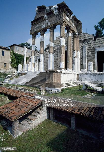 Ruins of the Capitoline temple or Capitolium Brescia Lombardy Italy Roman civilization 7374 AD